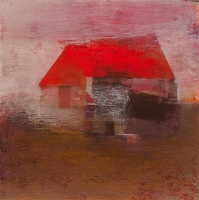 Tom Climent, Red House, oil and mixed media on canvas, 30 x 30 cm, 2010, SOLD