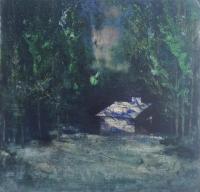 Cara Thorpe, Retreat, acrylic on board, 24.5 x 24.5 cm, 2015