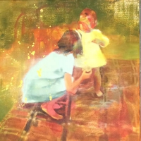 Oonagh Hurley, Fledgling, acrylic on canvas, 50 x 50 cm, 2015