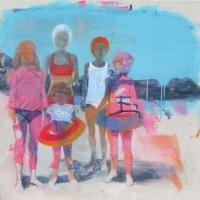 Oonagh Hurley, Beach wexford 1974, mixed media on canvas, 50 x 50 cm, 2015