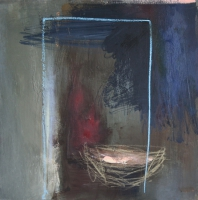 Carol Hodder <i>Nesting Box</i>, oil on canvas, 60 x 60 cm, 2011, SOLD