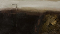 Hughie O'Donoghue, Fallen Angel, oil and construction on canvas, 2007, SOLD