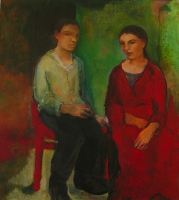 Jonathan Hunter, Seated Figures Interior, oil on canvas, 127 x 91 cm, 2006, SOLD
