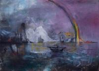 Margaret Corcoran, Rainbow Sea, oil on canvas, 45 x 61 cm, 2014