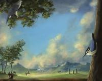 Gail Boyajian, Enlightened Earth, oil on panel, 20.5 x 25.5 cm, 2015