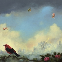Gail Boyajian, Vanitas B (scarlet tanager), oil on panel, 30.5 cm x 30.5 cm, 2015