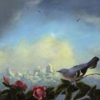 Gail Boyajian, Vanitas C (mockingbird), oil on panel, 30.5 cm x 30.5 cm, 2015