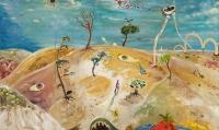 Peter Burns, Desert Planet, oil & watercolour on canvas, 50 x 90 cm, 2015
