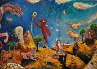 Peter Burns, Egyptiania, oil on canvas, 20 x 30 cm, 2015