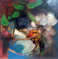 Jonathan Hunter, The Cuckoo of Awareness, oil on canvas, 45 x 45 cms, 2015
