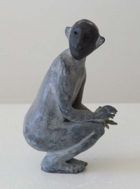 Janet Mullarney, Parallel, unique bronze with glass dome, 2008