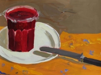 Katherine Boucher Beug, Still Life with Knife, acrylic on paper, 25 x 33 cm, €1,500