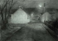 Maeve McCarthy, Approaching a Village, charcoal on Fabriano paper, 70 x 100 cm, 2014, € 1,690