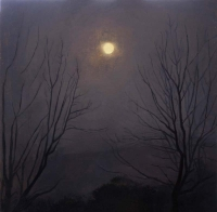 Maeve McCarthy, Moon through Trees, tempera & oil on gesso board, 38 x 38 cm, 2014, SOLD