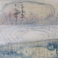 Siobhan McDonald, Lake Filled Crater, oil, fresco plaster & sumi ink on canvas, 50 x 50 cm, 2011, SOLD