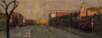 Frances Ryan, Morning, oil and mixed media on board, 20 x 50 cm, 2007, SOLD