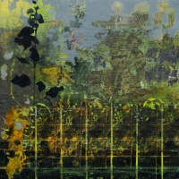 Frances Ryan, Ghost Gardens III, oil and collage on panel, 30 x 30 cm, 2015