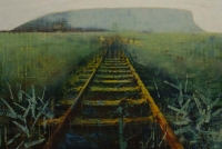Frances Ryan, Awayland, 30 x 45 cm, oil and collage on panel, 2013, SOLD