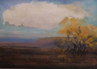 Frances Ryan, Ox Cloud, 35 x 50 cm, oil & collage on panel, 2013, SOLD