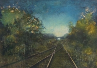 Frances Ryan, Night Train, 35 x 50 cm, oil & collage on panel, 2013, SOLD