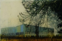 Frances Ryan, Platform, 20 x 30 cm, oil and collage on panel, 2013, SOLD