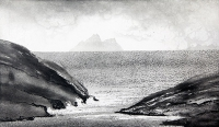 Norman Ackroyd, Skellig from Dursey Sound, etching, edition of 90, 18 x 31 cm, 2002, SOLD