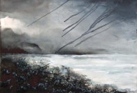 Imelda Kilbane, Rainstorm, mixed media on paper, 55.8 x 76.2cm, 2014, SOLD