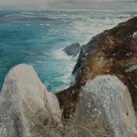 Neal Greig, Rocks at Bolus, oil on board, 70 x 70 cm, 2014, € 1,600