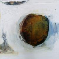 Leonard Sheil, Endangered Sea, mixed media on board, 38 x 38 cm, 2007, SOLD