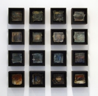 Leonard Sheil, Tabernacle, 16 wood boxes 20 x 20 x 9 cm with mixed media and silicone, 2012, SOLD