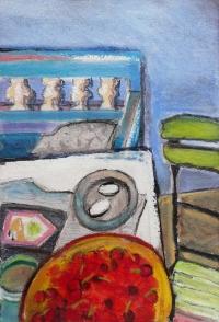 Regine Bartsch, Pigeon Eggs & Cherries, 56 x 38 cm, mixed media on paper, 2012, €1,200