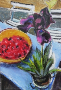 Regine Bartsch, Black Iris & Cherries, 56 x 38 cm, mixed media on paper, 2012, €1,200