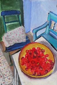 Regine Bartsch, Cherries in Cucuron, 56 x 38 cm, mixed media on paper, 2012, €1,200