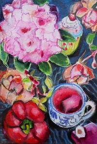 Regine Bartsch, Pinks & Reds, 56 x 38 cm, mixed media on paper, 2012, €1,200
