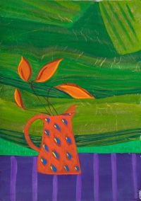 Jane O'Malley, Decorative Jug with Red Leaves, gouache, acrylic and collage, 35.5 x 25.5 cm, 2010, €875