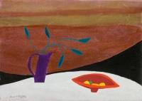 Jane O'Malley, Still Life-La Geria (2), gouache, acrylic and collage, 35.5 x 25.5 cm, 2010, SOLD