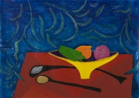 Jane O'Malley, The Yellow Fruit Bowl & Black Spoons, gouache, acrylic and collage, 40.5 x 30.5 cm, 2010, SOLD