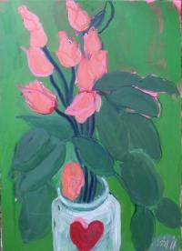Suzy O'Mullane, Heart Jar & Love Roses, oil on canvas, 70 x 50 cm, 2012, €3,800